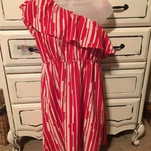 Color Me Red Off the Shoulder Red & White Dress
